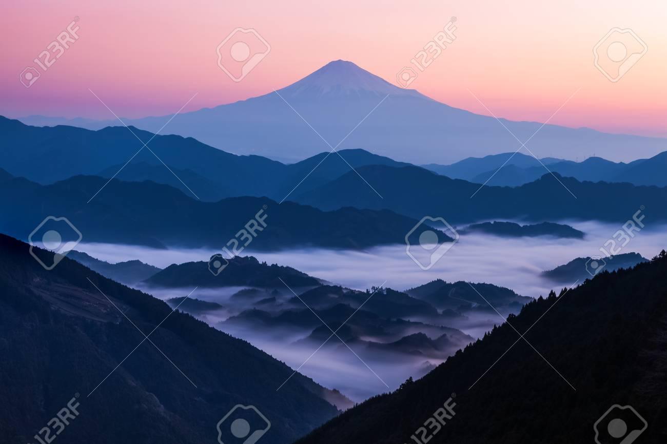 Beautiful sunrise time of Mountain Fuji and sea of mist in autumn season seen from Mountain Takayama , Shizuoka prefecture - 94069650