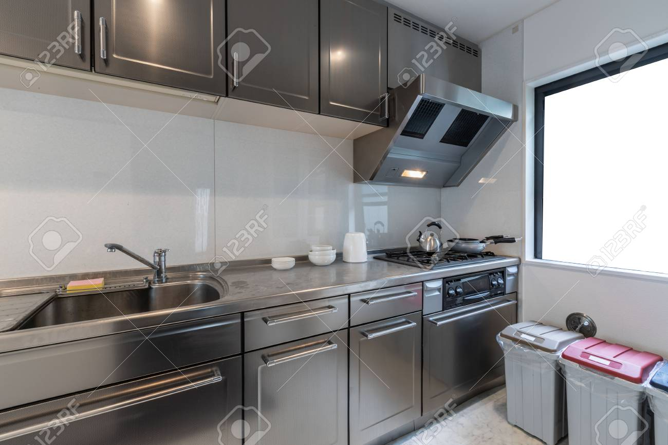 Modern kitchen with stainless steel kitchen cabinets