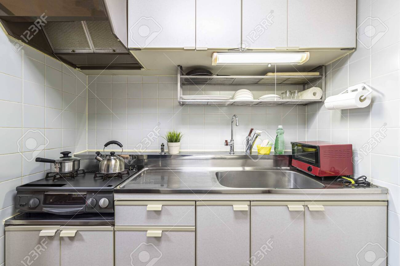 Small Kitchen Counters And Kitchen Utensils In The Room At The Stock Photo Picture And Royalty Free Image Image 155355562