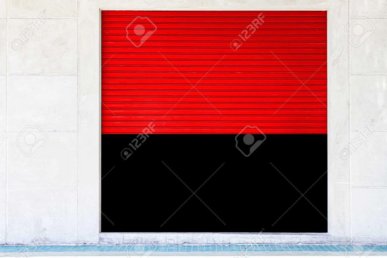 Red Steel shutter door stores open and close - 168475658
