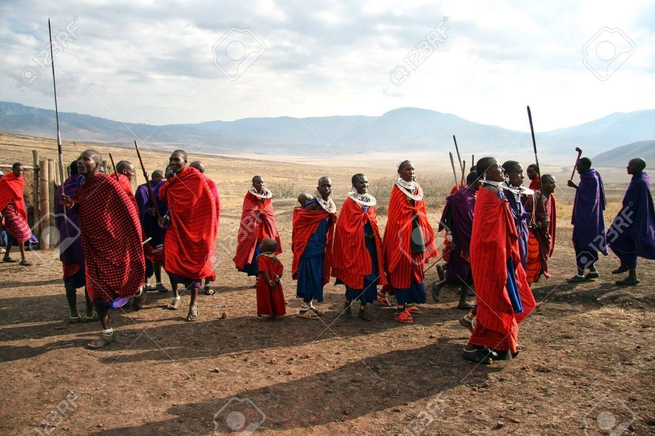 Ngorongoro,Tanzania - August 18,2007 : Massai Warriors exhibits her dance before the visit of tourists, their main source of revenue today.  Stock Photo - 9144323