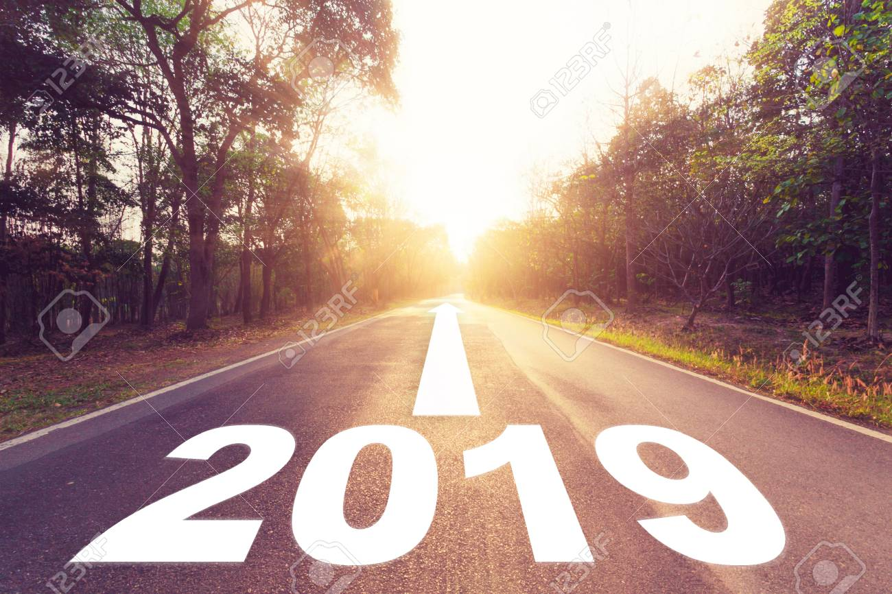 Empty asphalt road and New year 2019 concept. Driving on an empty road to Goals 2019. - 105094438
