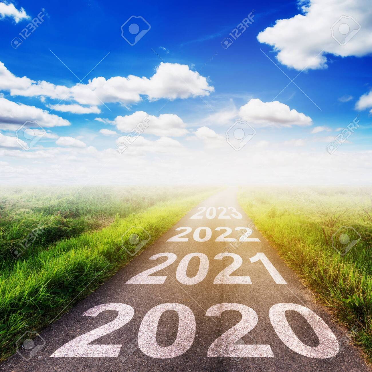 Empty asphalt road and New year 2020 concept. Driving on an empty road to Goals 2020. - 134680529