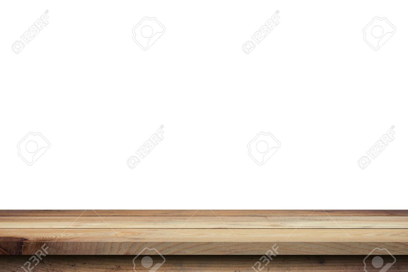 Empty wood table on isolate white background and display montage with copy space for product. - 154972822
