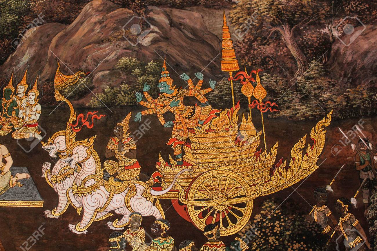Wat Phra Kaew wall painting ate in Thailand about ramayana story