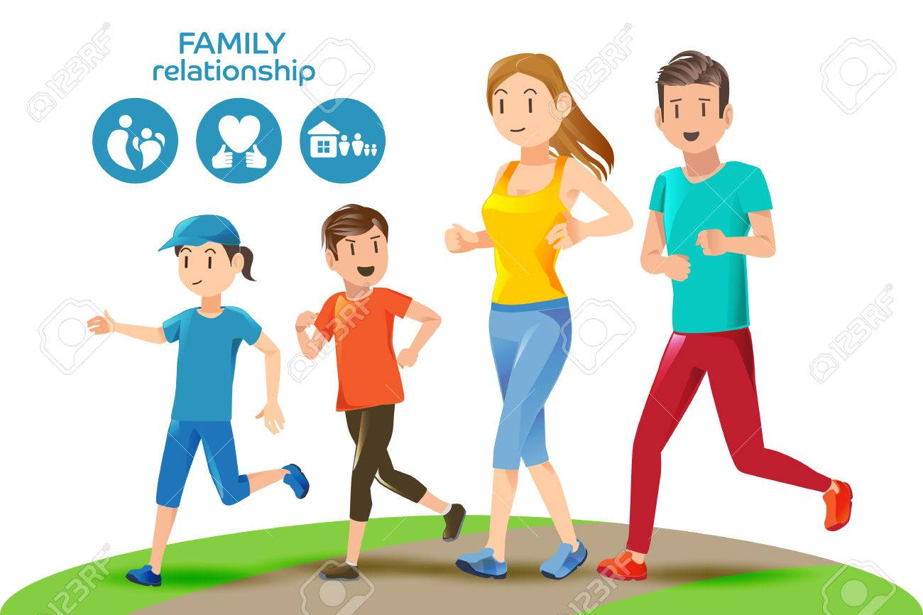 Good relations in family. Basic healthy care for people. Icons and character. Illustration for advertise running sport. - 62894520