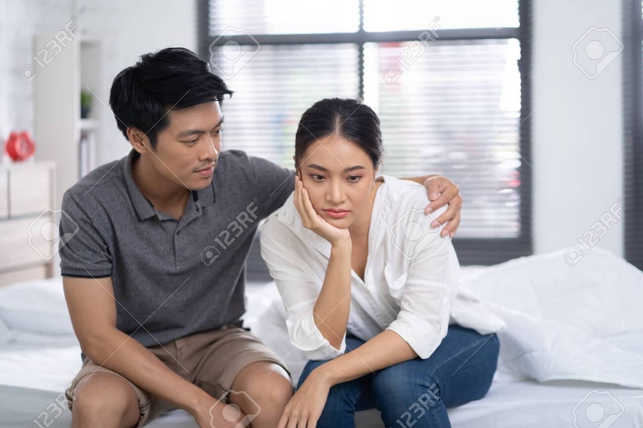 Lovers are comforting each other when feeling bad and stressed - 131637350