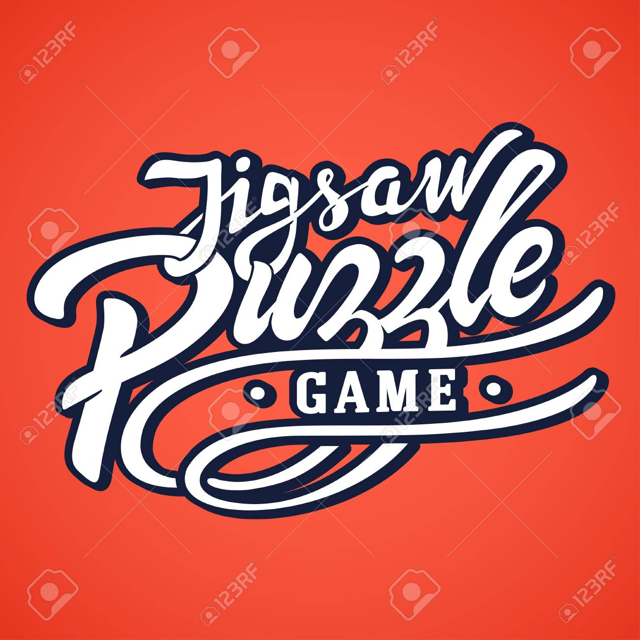 Jigsaw Puzzle Game Lettering Logo For Box Ready To Use