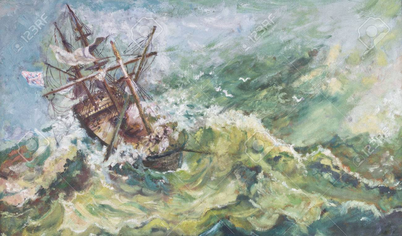 Old Vintage Nautical Coastal Landscape Ship Oil Painting With