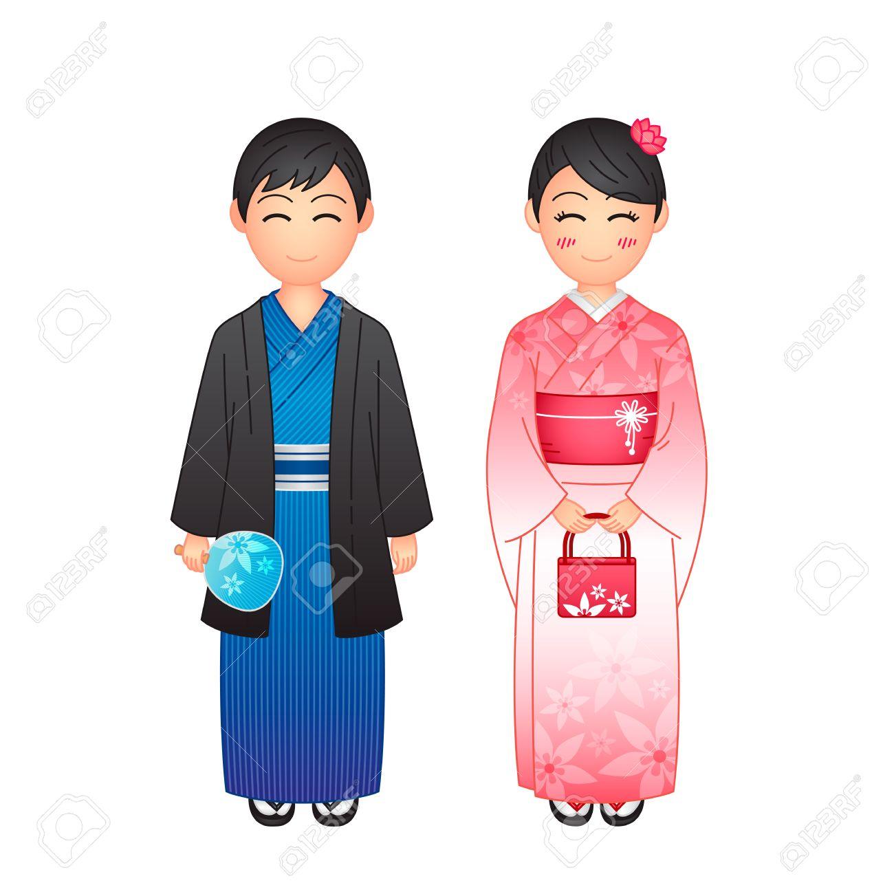de7695b26 Ilustración del vector, mujer y hombre vistiendo yukata ropa tradicional  japonesa en el fondo blanco