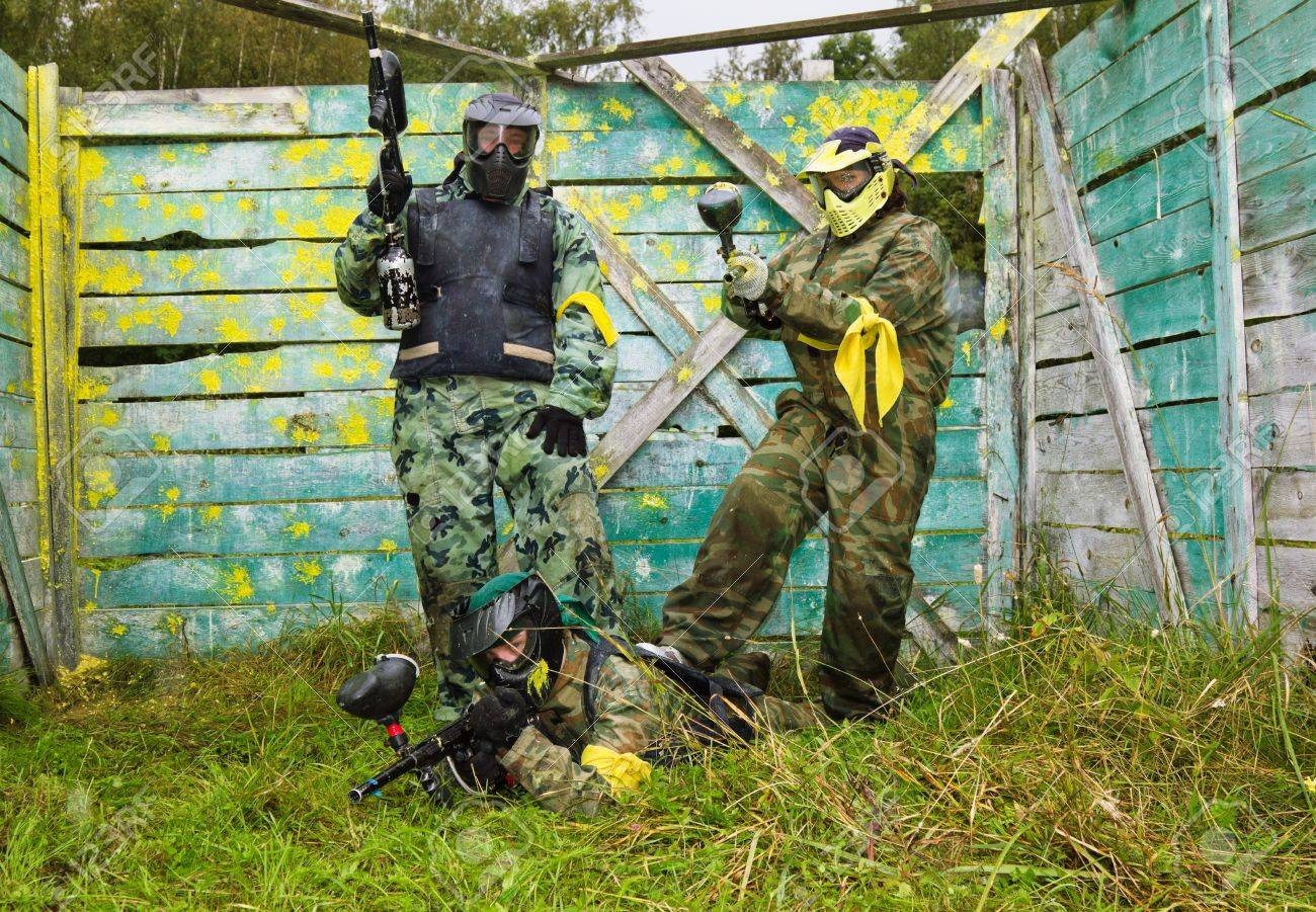 Paintball Players In Full Gear At The Shooting Range Stock Photo Picture And Royalty Free Image Image 15037774