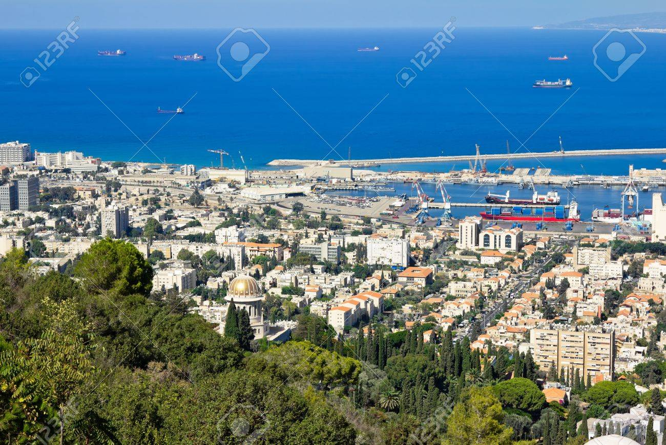 View from Mount Carmel to port and Haifa in Israel Sunny Mediterranean landscape Stock Photo - 15829455