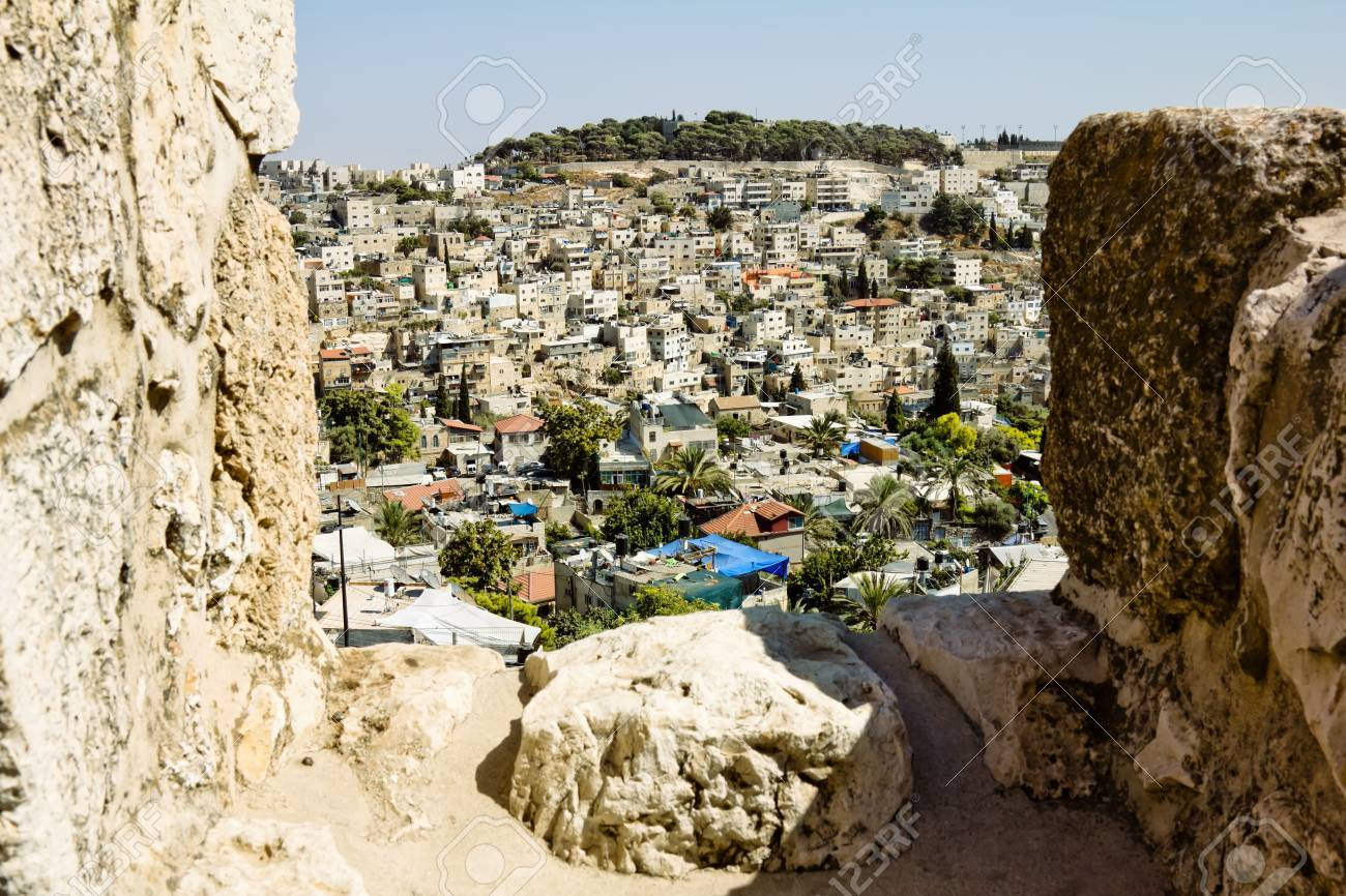 View from the walls of ancient Jerusalem  to neighborhoods and city rooftops Stock Photo - 16842442