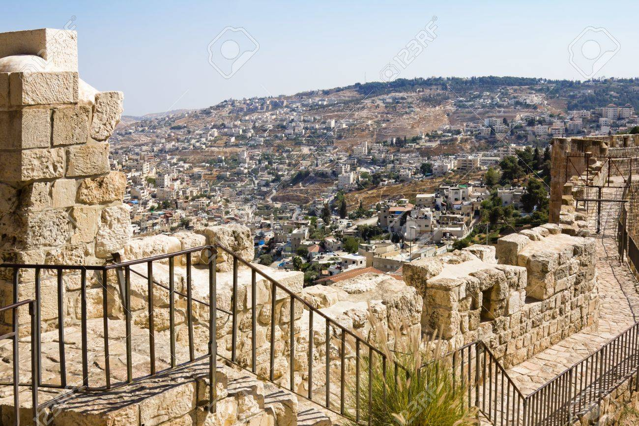 View from the walls of ancient Jerusalem  to neighborhoods and city rooftops Stock Photo - 16842705