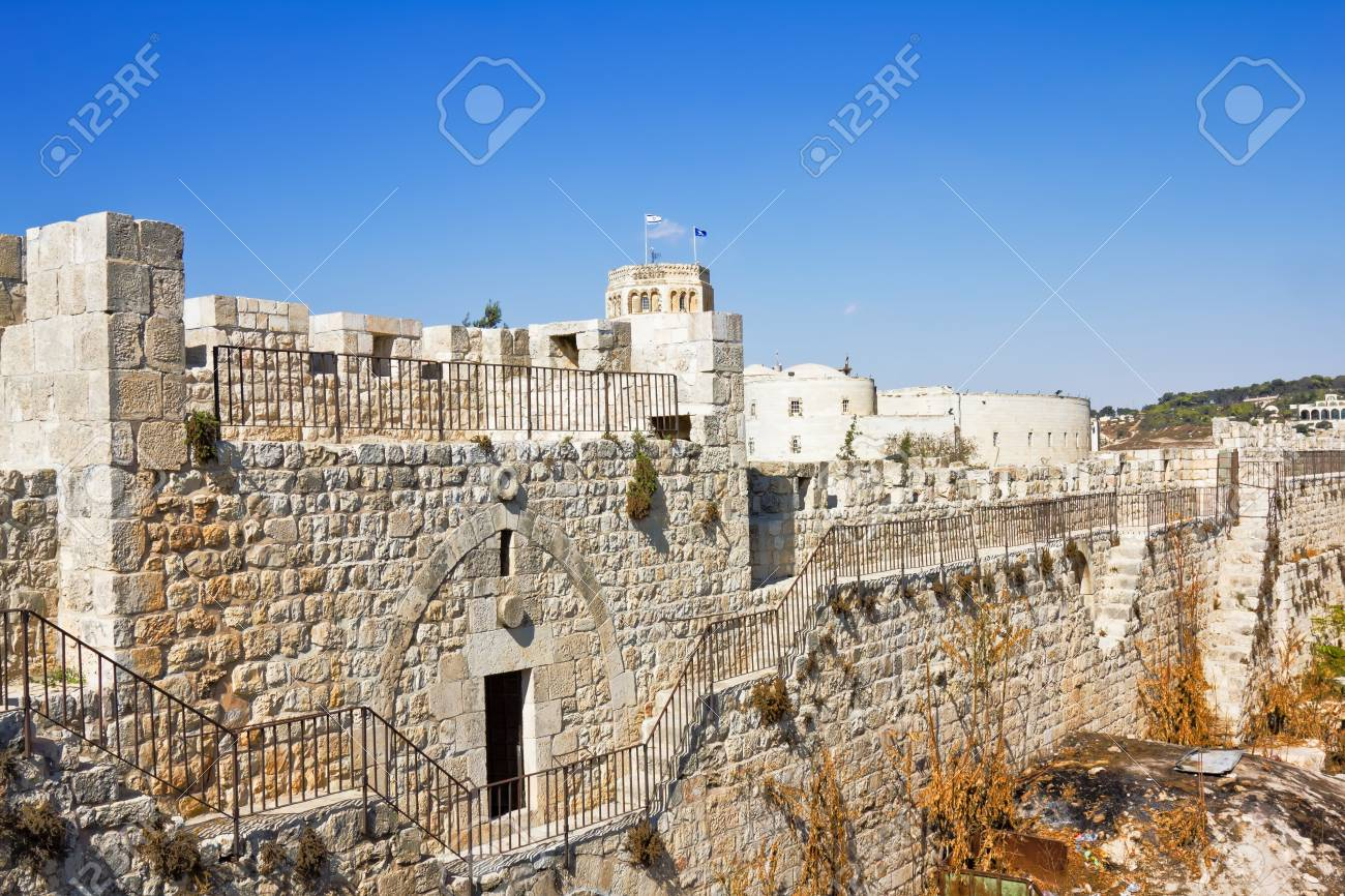 View from the walls of ancient Jerusalem  to neighborhoods and city rooftops Stock Photo - 17666171