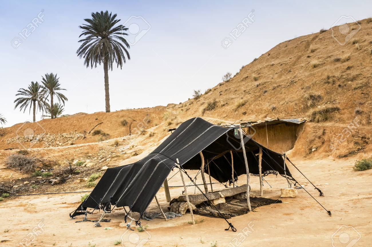 the berber tent in the sahara desert tunisia africa stock photo