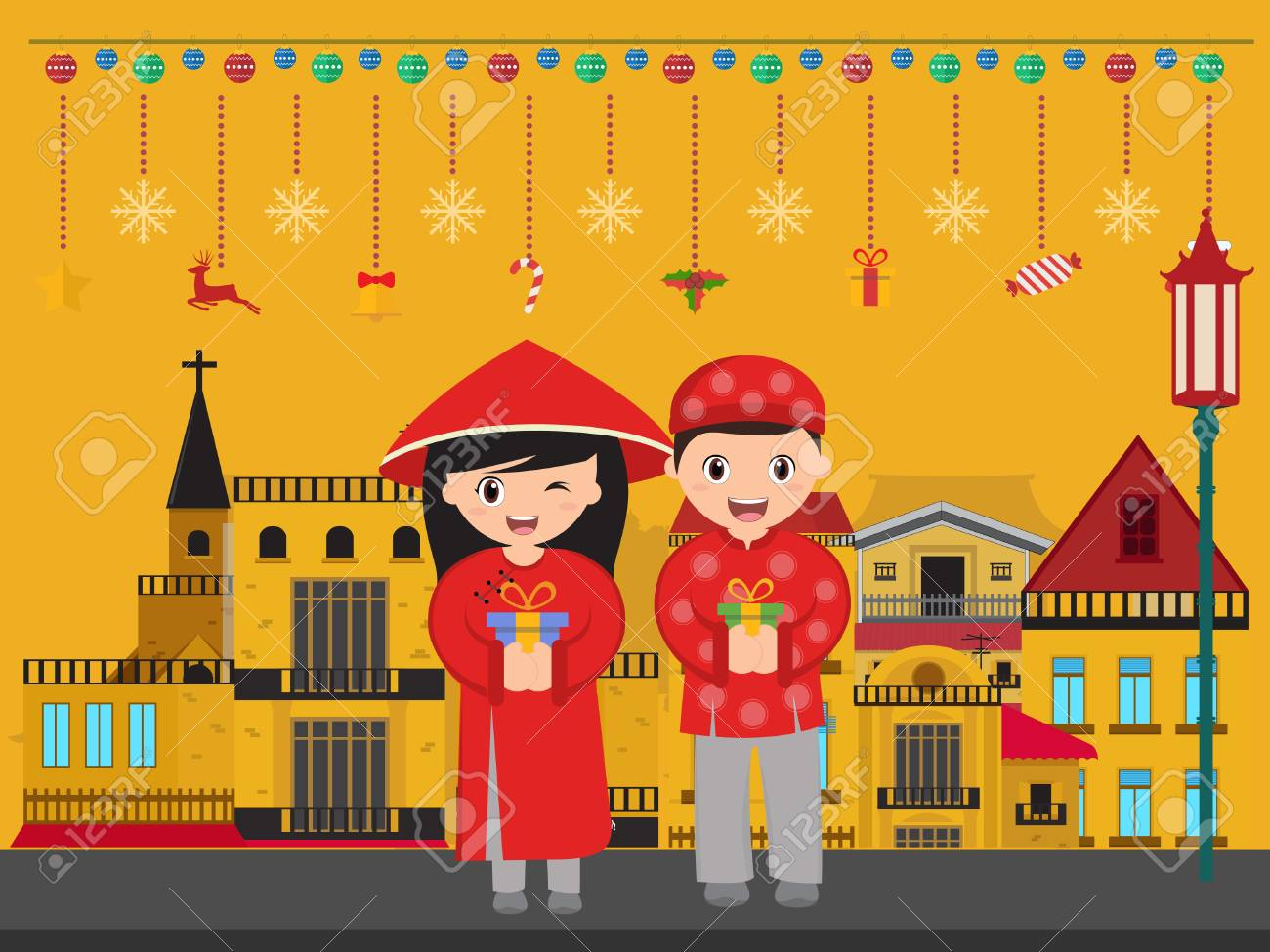Vector - Vietnamese boy and girl with gifts new year.