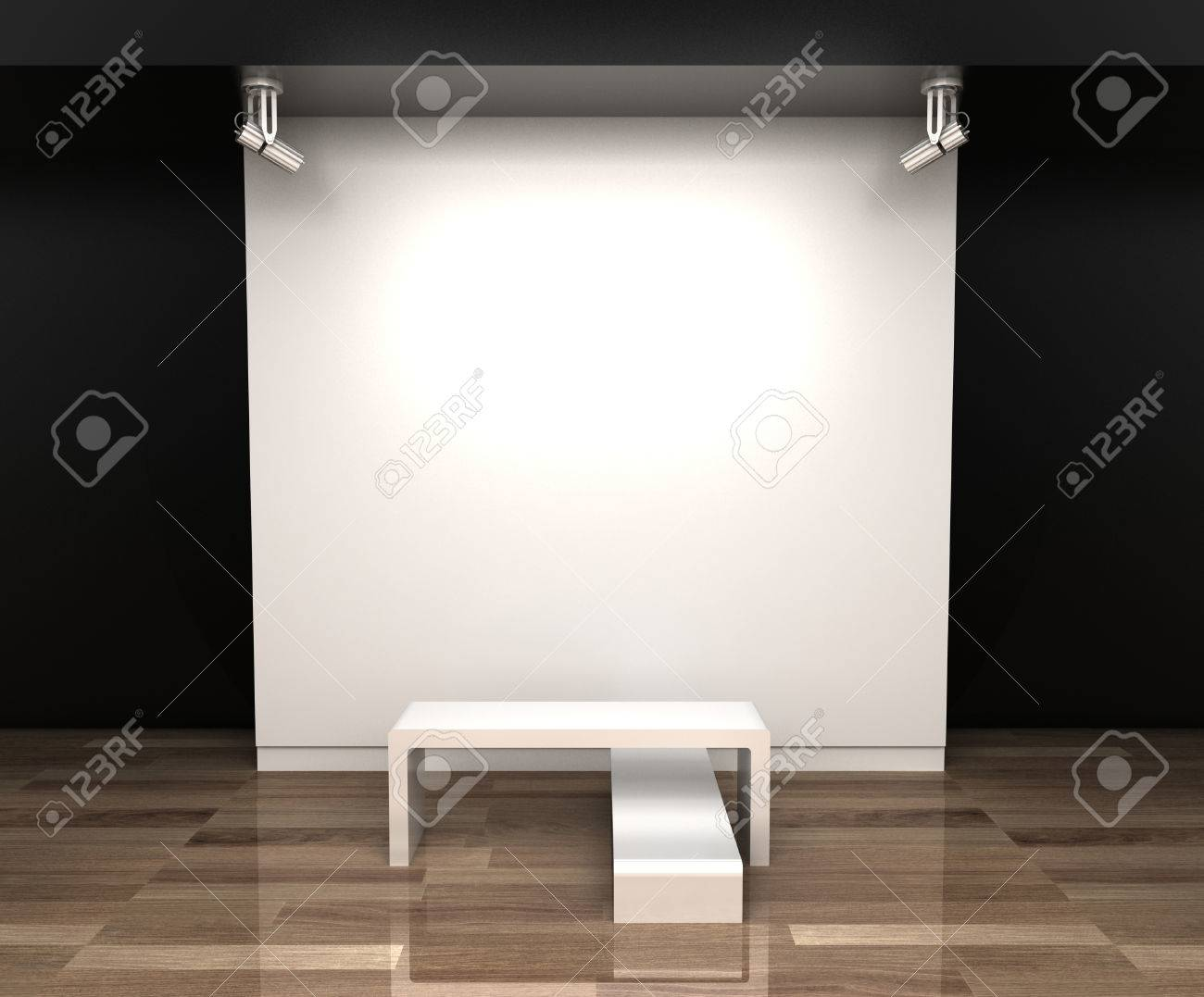 Empty Museum Hall, 3d Rendering. Blank Frames. Stock Photo, Picture ...