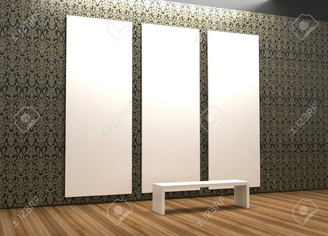 empty museum hall 3d rendering blank frames stock photo 56302490 - Museum Frames