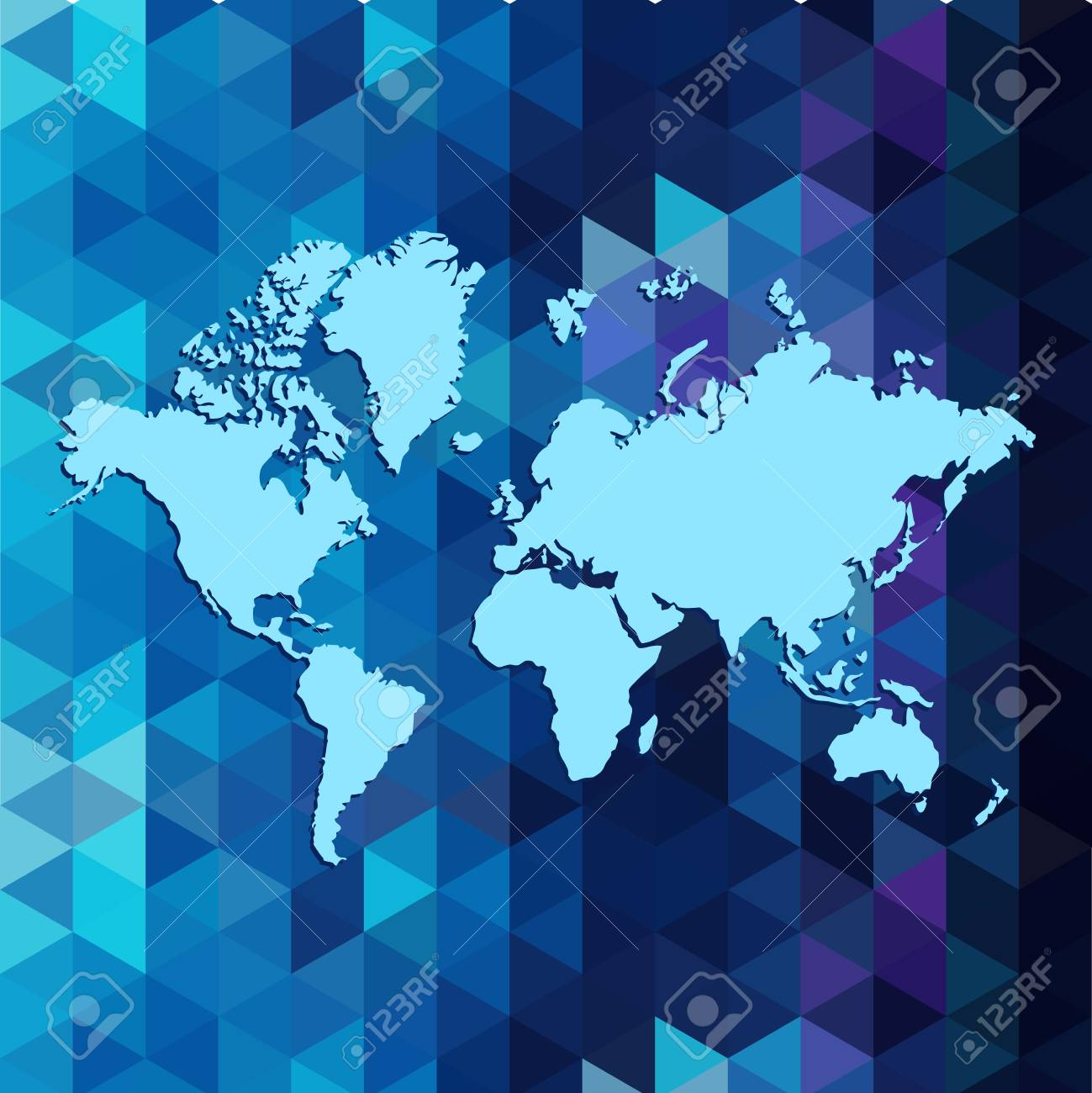 World map i ongeometric triangle pattern designin blue colors vector world map i ongeometric triangle pattern designin blue colors gumiabroncs Image collections