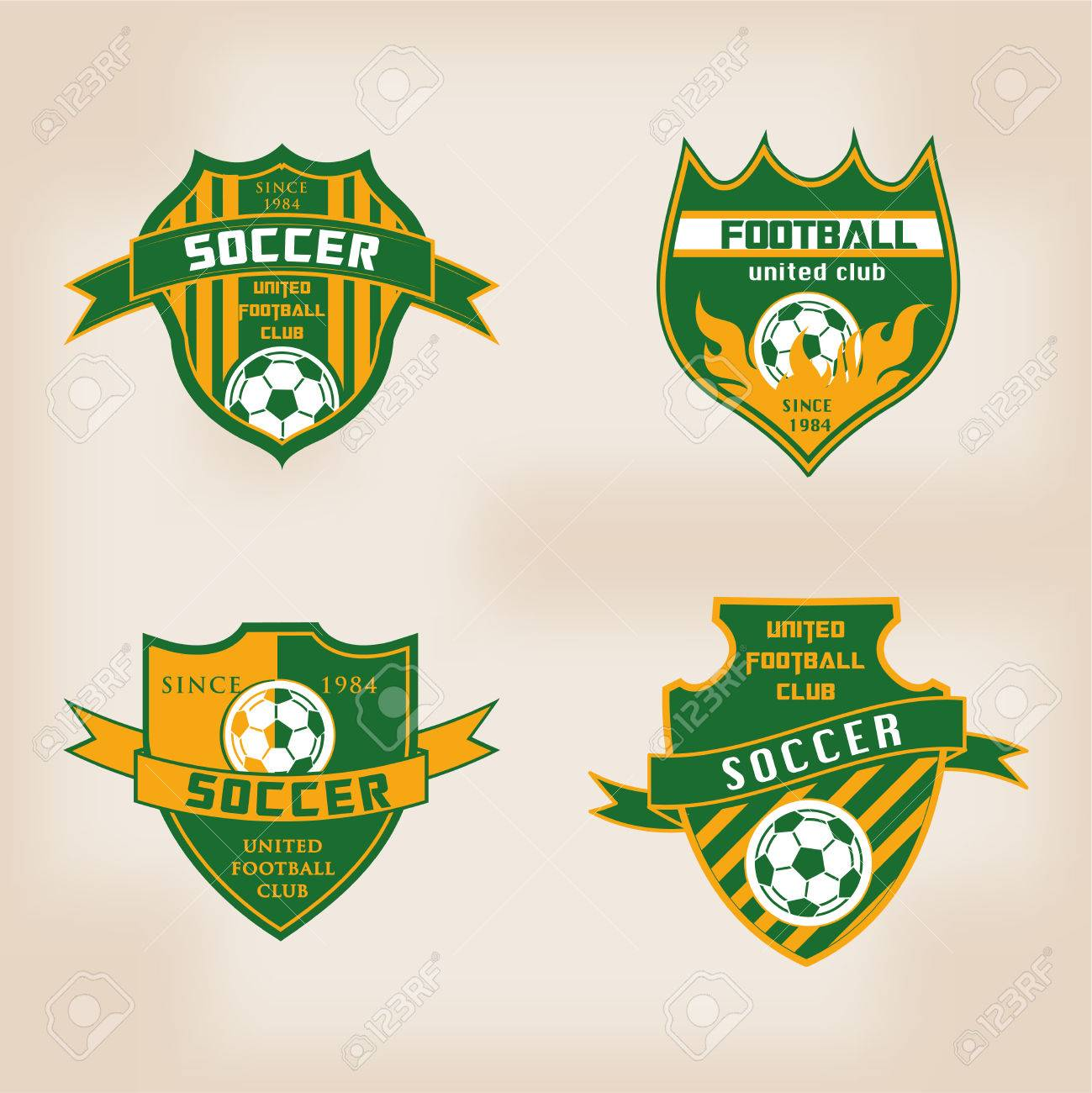 set of soccer football badge logo design templates royalty free