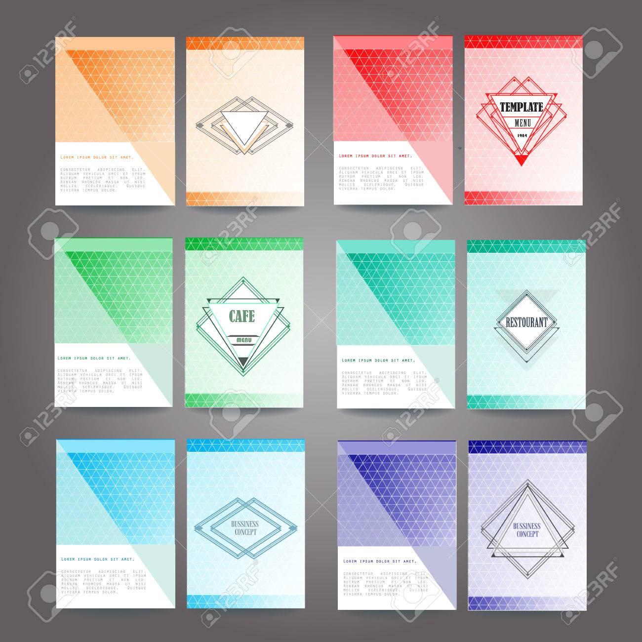 Set Poster, Flyer, Broschüre Vorlagen Mit Abstrakten Polygonalen Art ...
