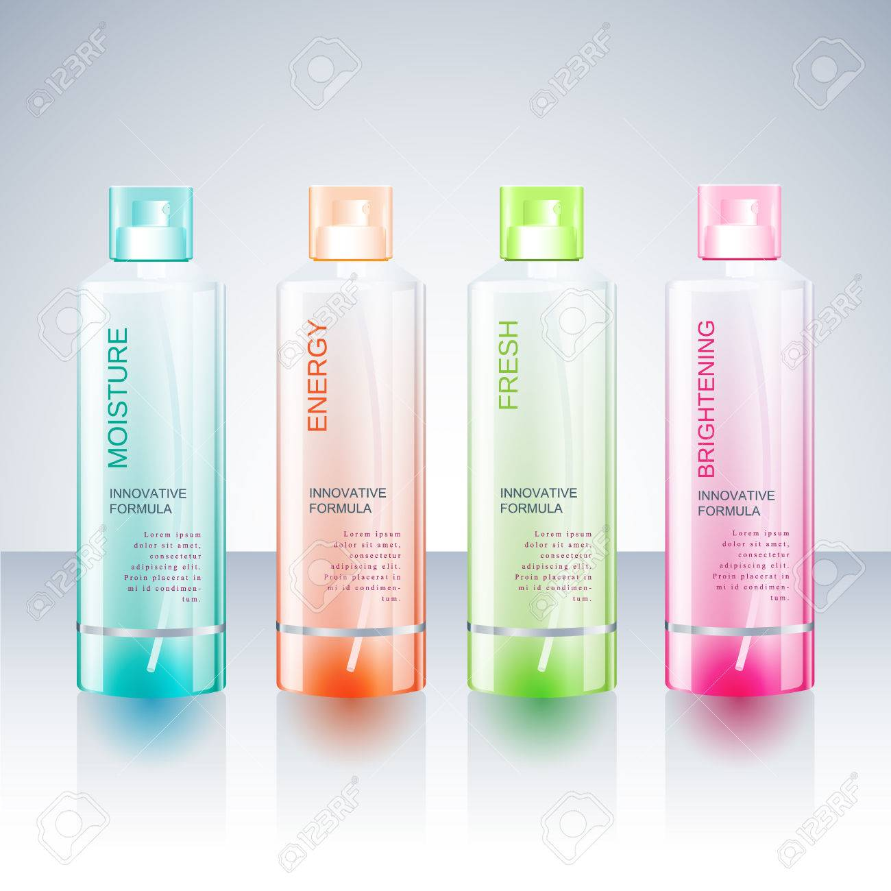 packaging design template for body care bottle royalty free cliparts