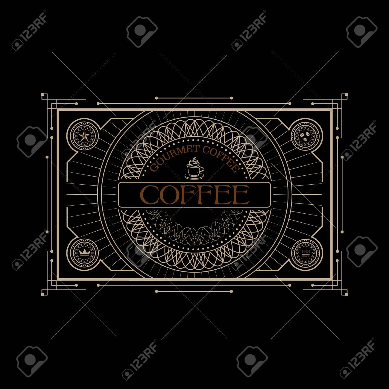 Etiqueta Del Café De La Vendimia Victoriano Occidental Frontera Del ...