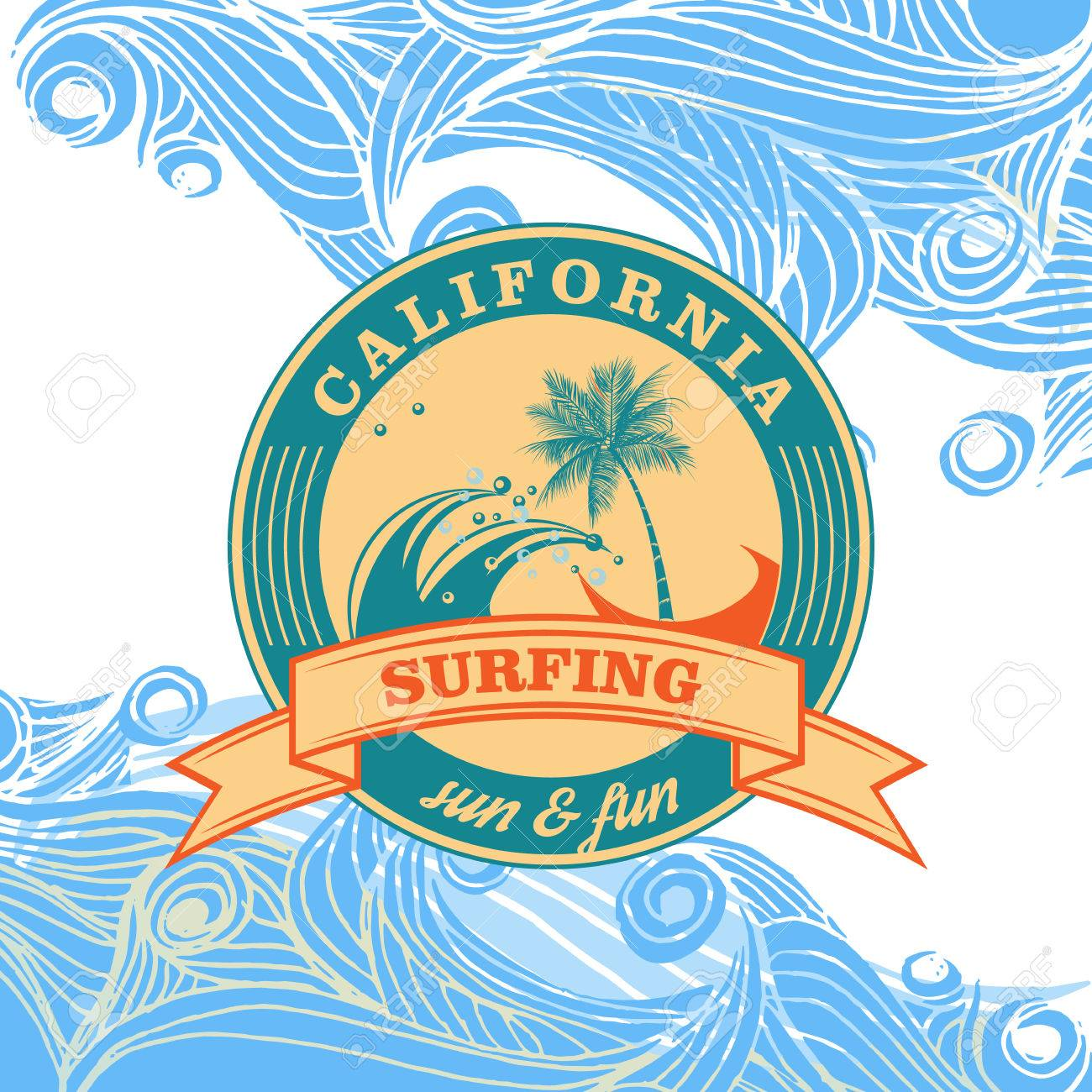T shirt poster design - Summer Surfing Retro Vintage Logo Emblem T Shirt Poster Design Stock Vector