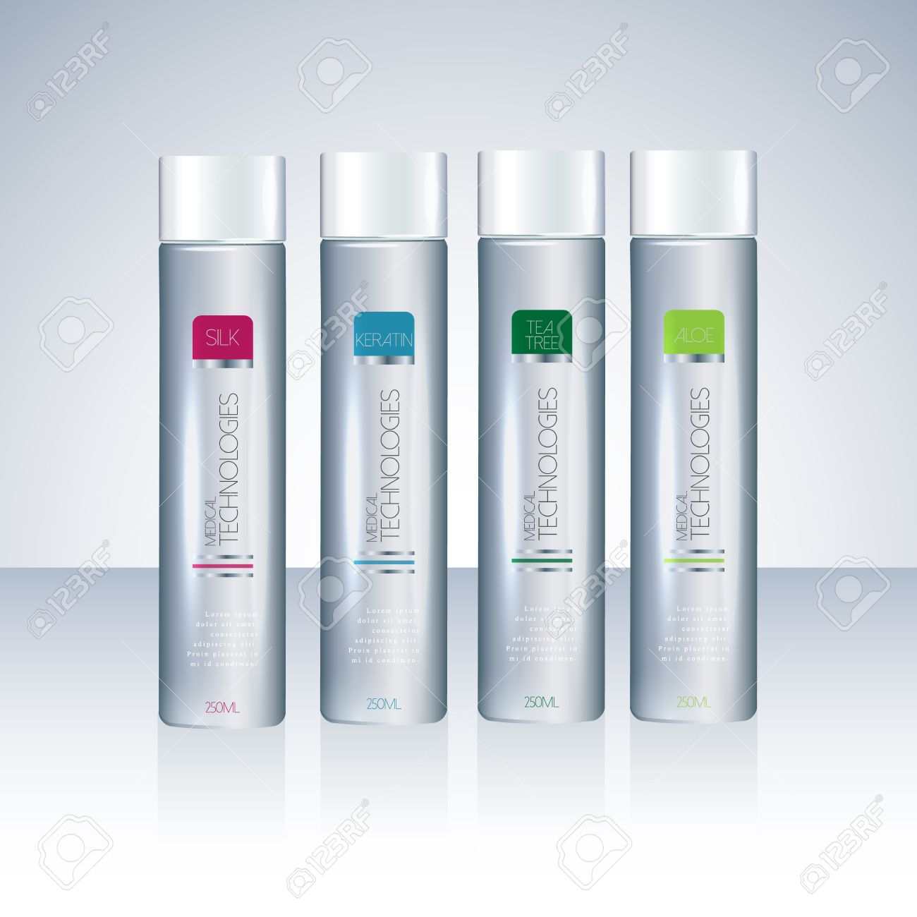 Bottles With Sample Labels For Shower Gel Or Shampoo Cosmetic ...