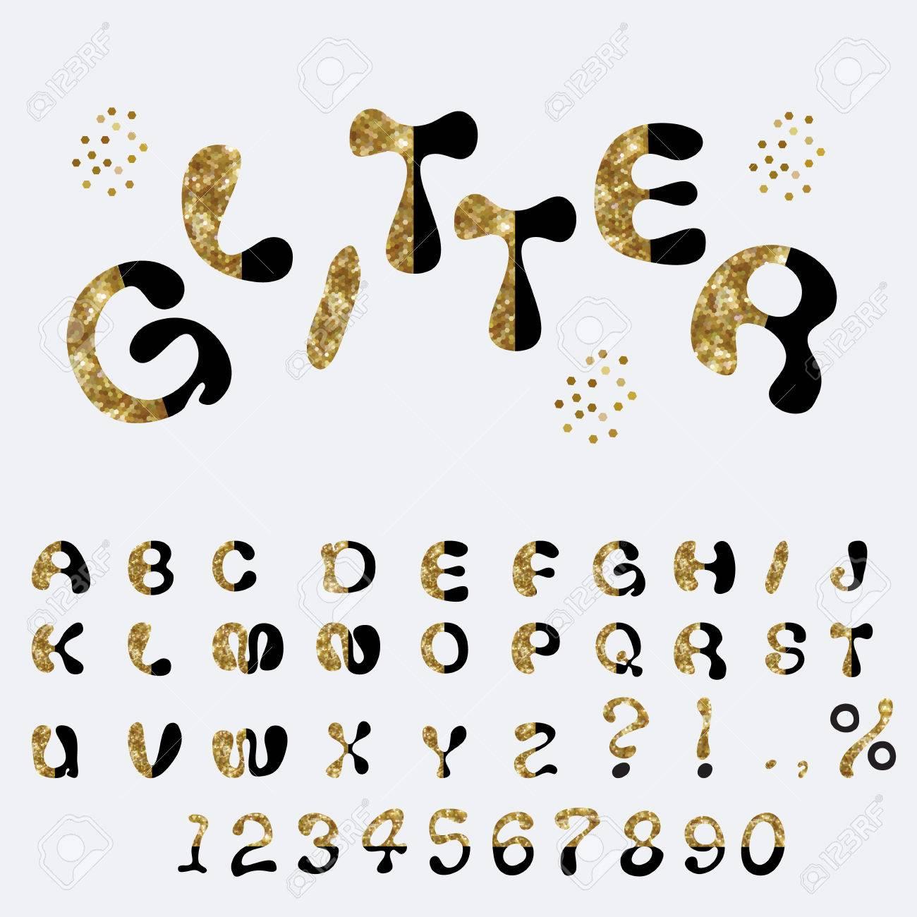 キラキラ アルファベット カスタム文字かわいいフォント コミック文字し