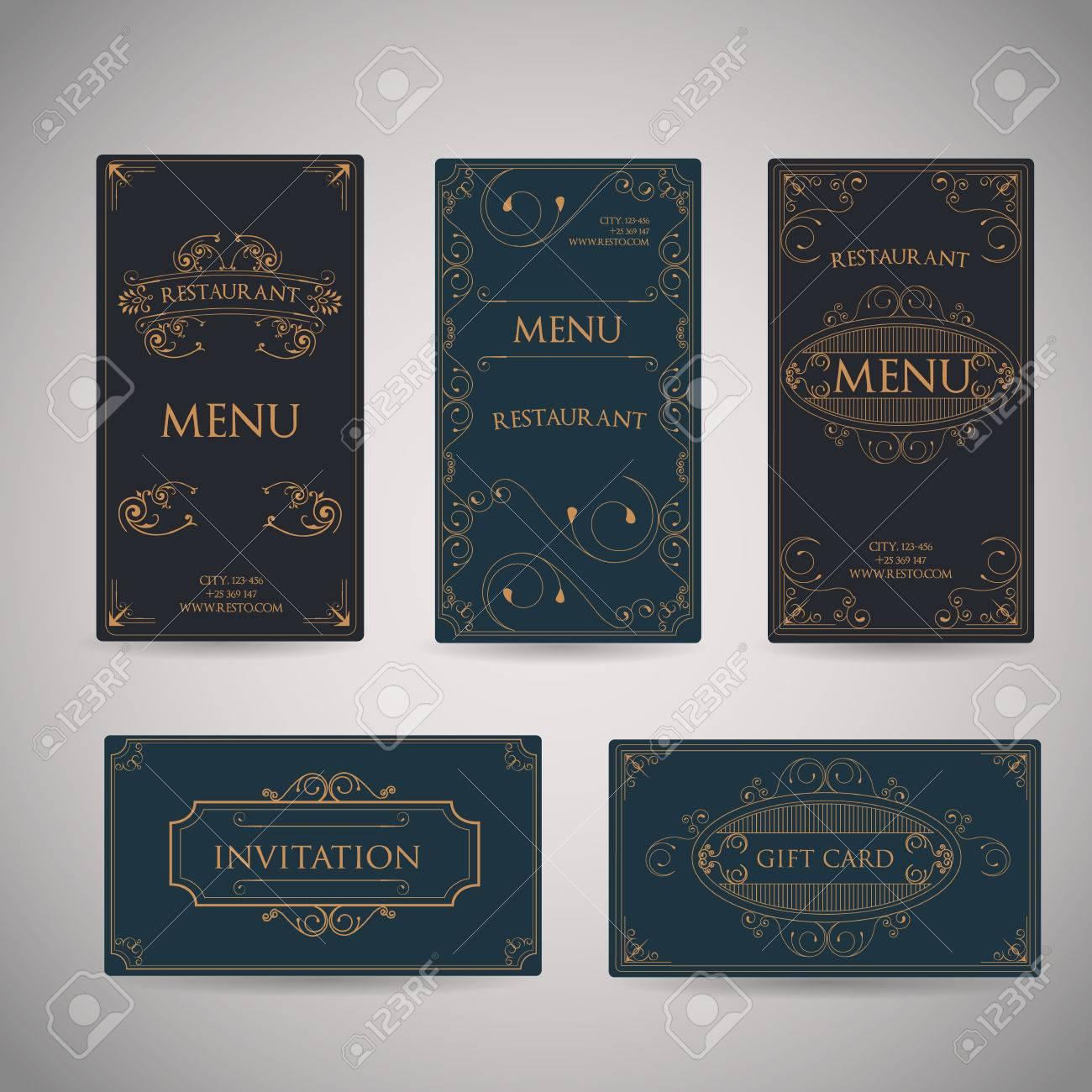 Set Of Vintage Luxury Greeting Restaurant Menu Design Template ...