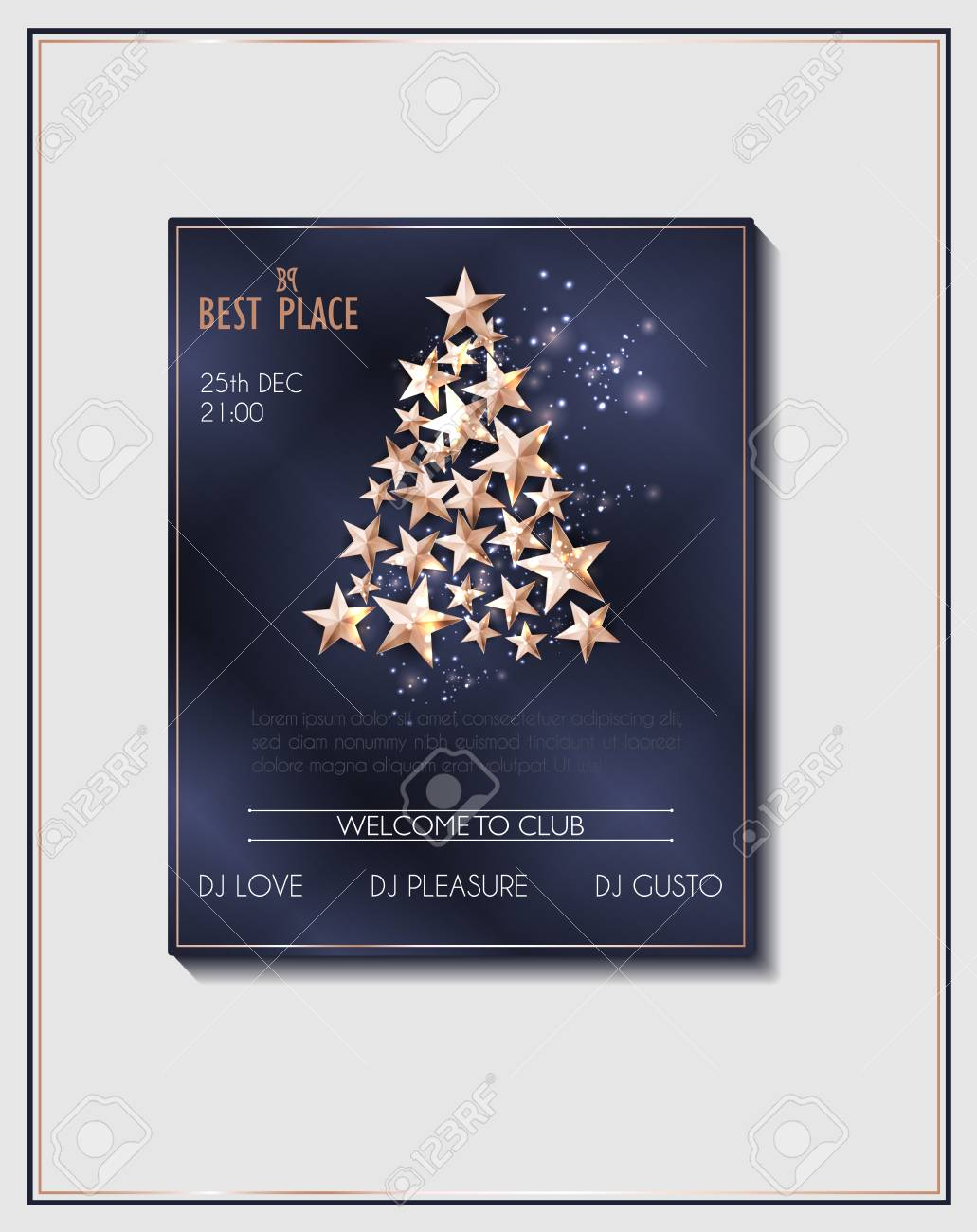 Christmas Poster Or Flyer Template With Christmas Tree Of Cutout