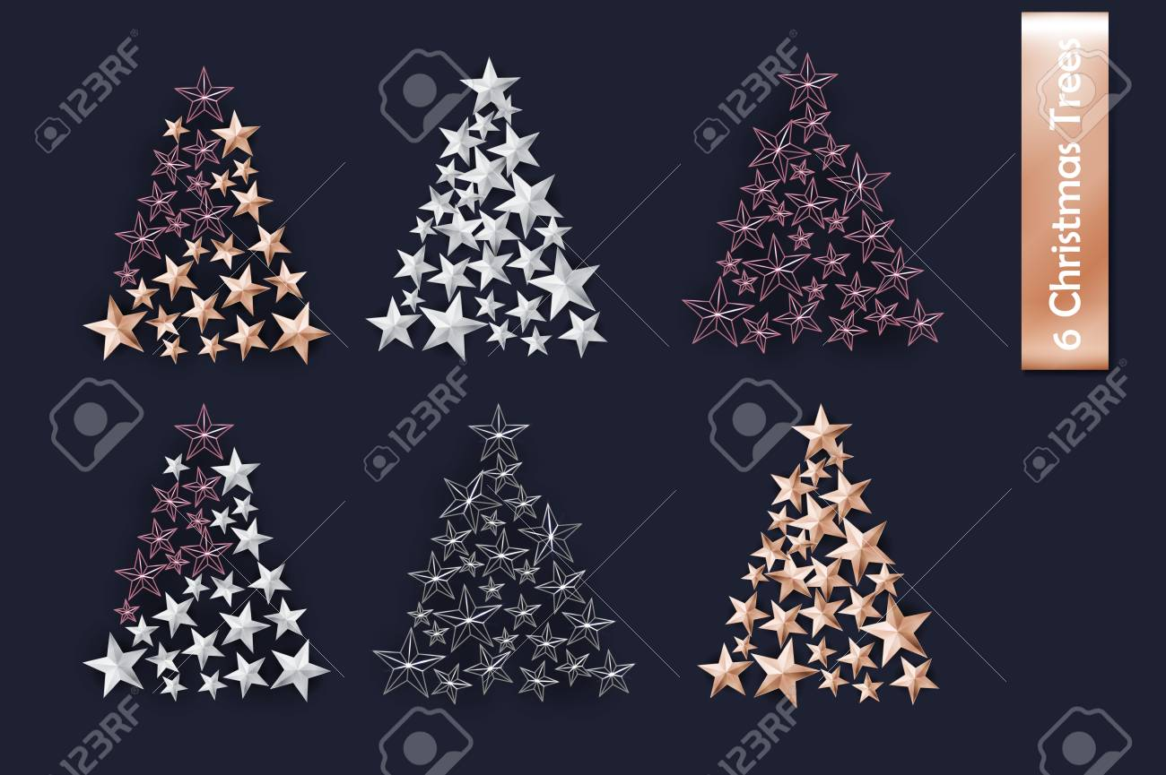 Set Of Rose Gold Gold Silver Christmas Tree Of Cutout Star Royalty Free Cliparts Vectors And Stock Illustration Image 91024190