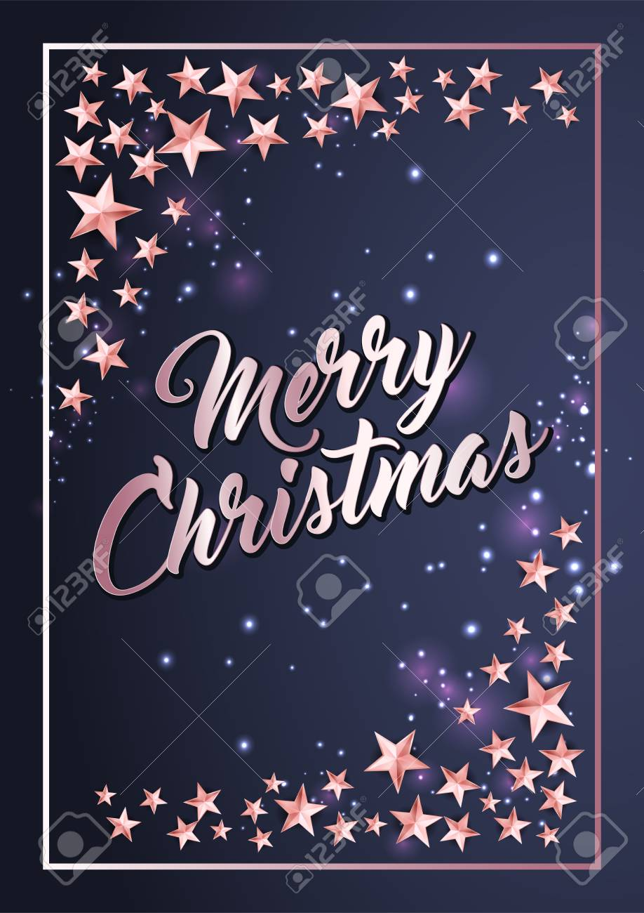 christmas poster or card template with shining stars border stock vector 108943922