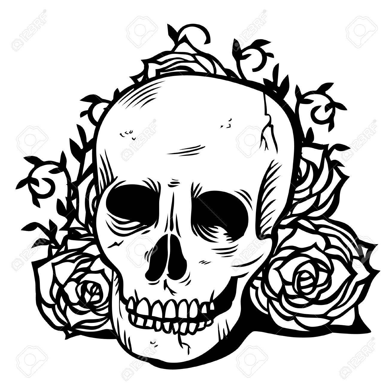 004b674fc8 A illustration of dark Gothic skull and flowers. The illustration is in  black and white color scheme and done in ink tattoo style.