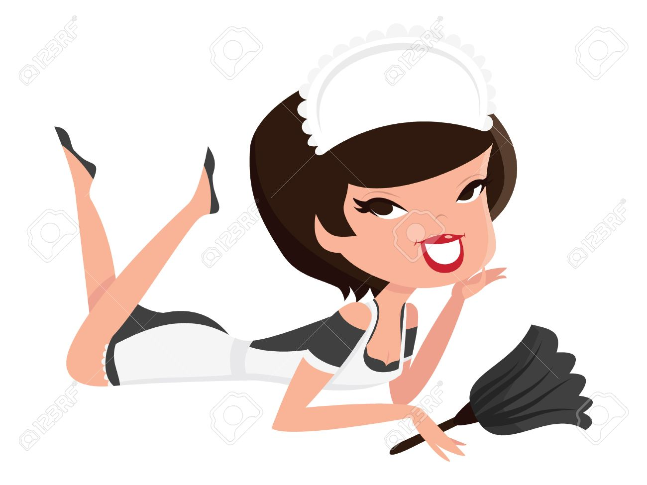 a cartoon illustration of a retro pin up french maid girl lying rh 123rf com french maid silhouette clip art Books With Glasses Clip Art