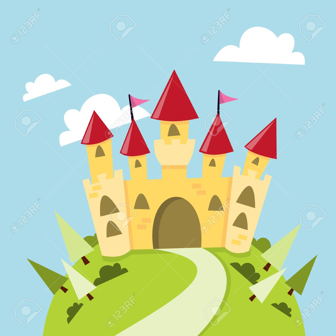 A cartoon illustration of a cute castle in the mountain. - 39135273