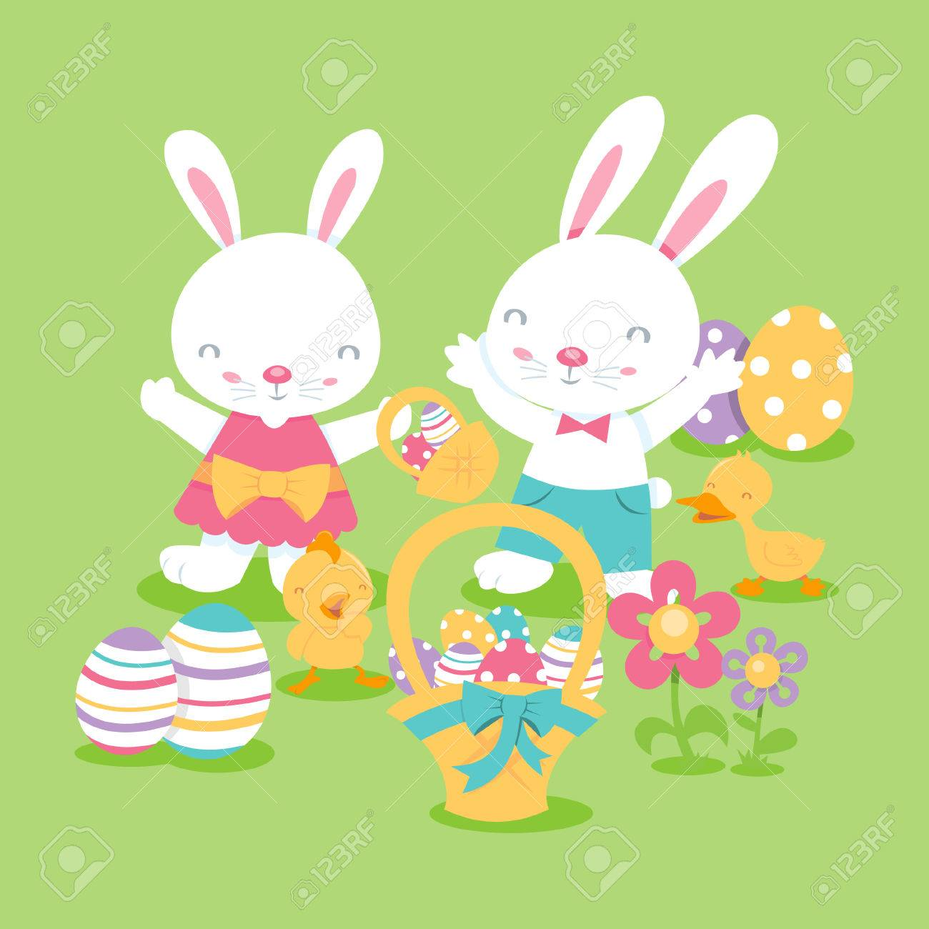 a cartoon illustration of super cute easter scene with a bunny