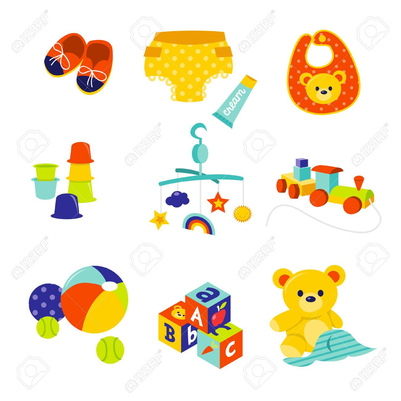 A Cartoon Illustration Of Cute Baby Gears And Toys. Royalty Free ...