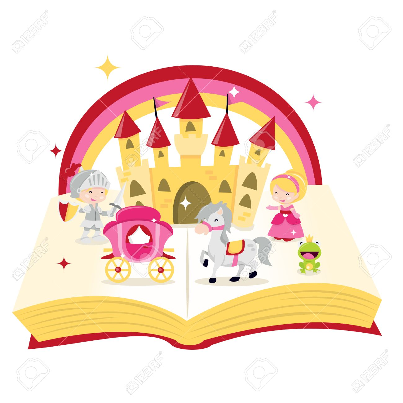 A cartoon illustration of fairy tale story book filled with castle,