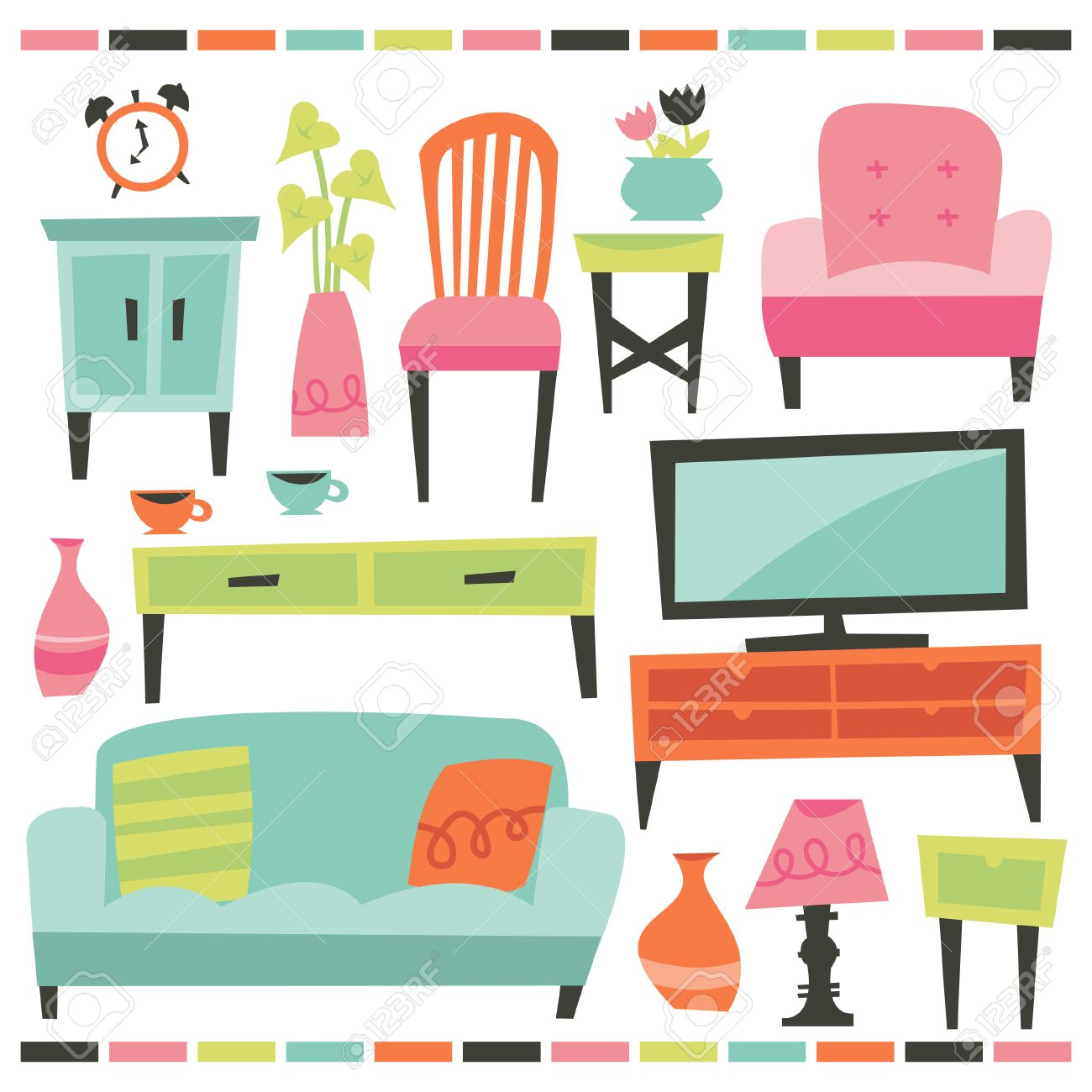 A Chic Illustration Of Retro Inspired Home And Living Furniture  # Muebles Full Hause