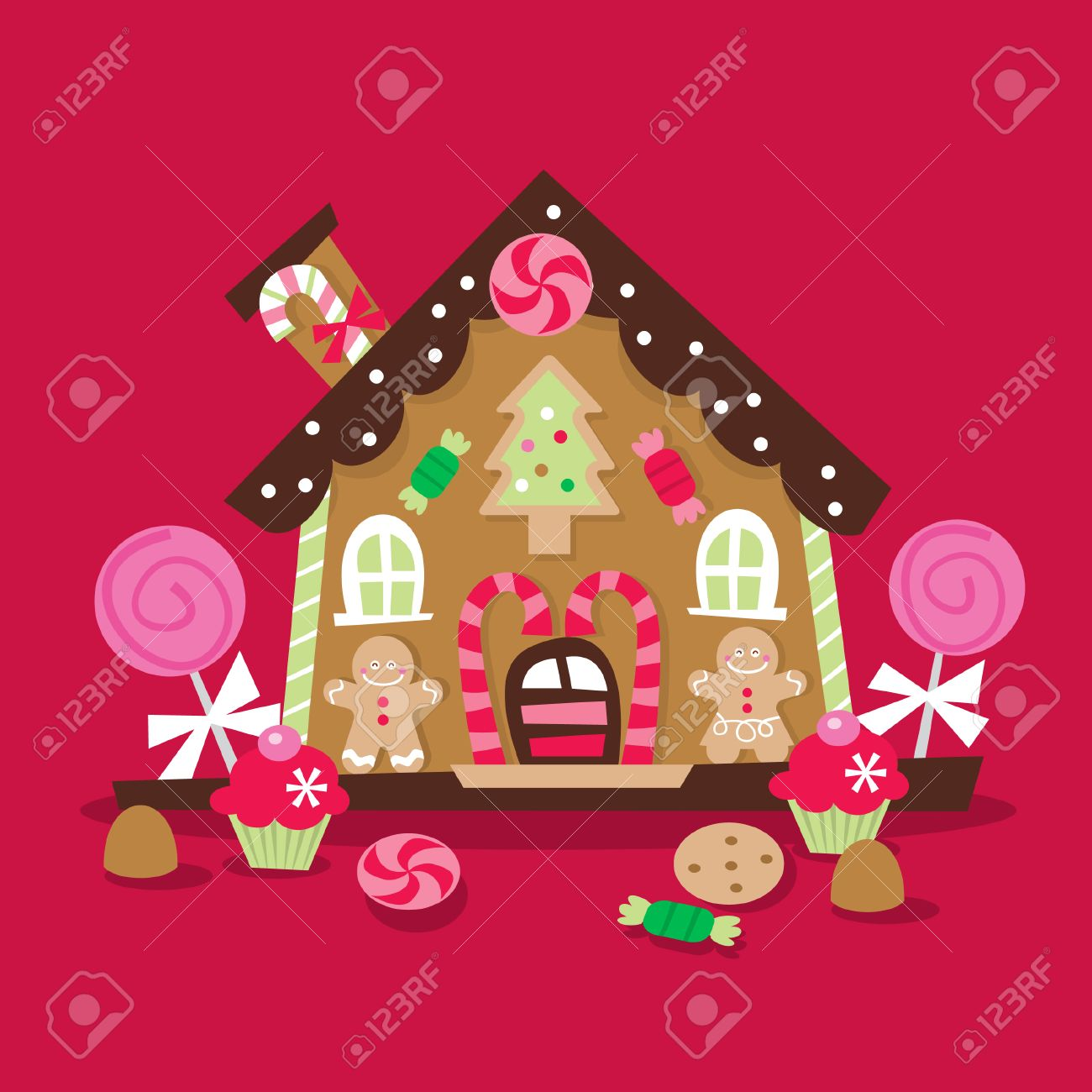 Christmas Gingerbread House Cartoon.A Cartoon Illustration Of A Whimsical And Retro Inspired Christmas