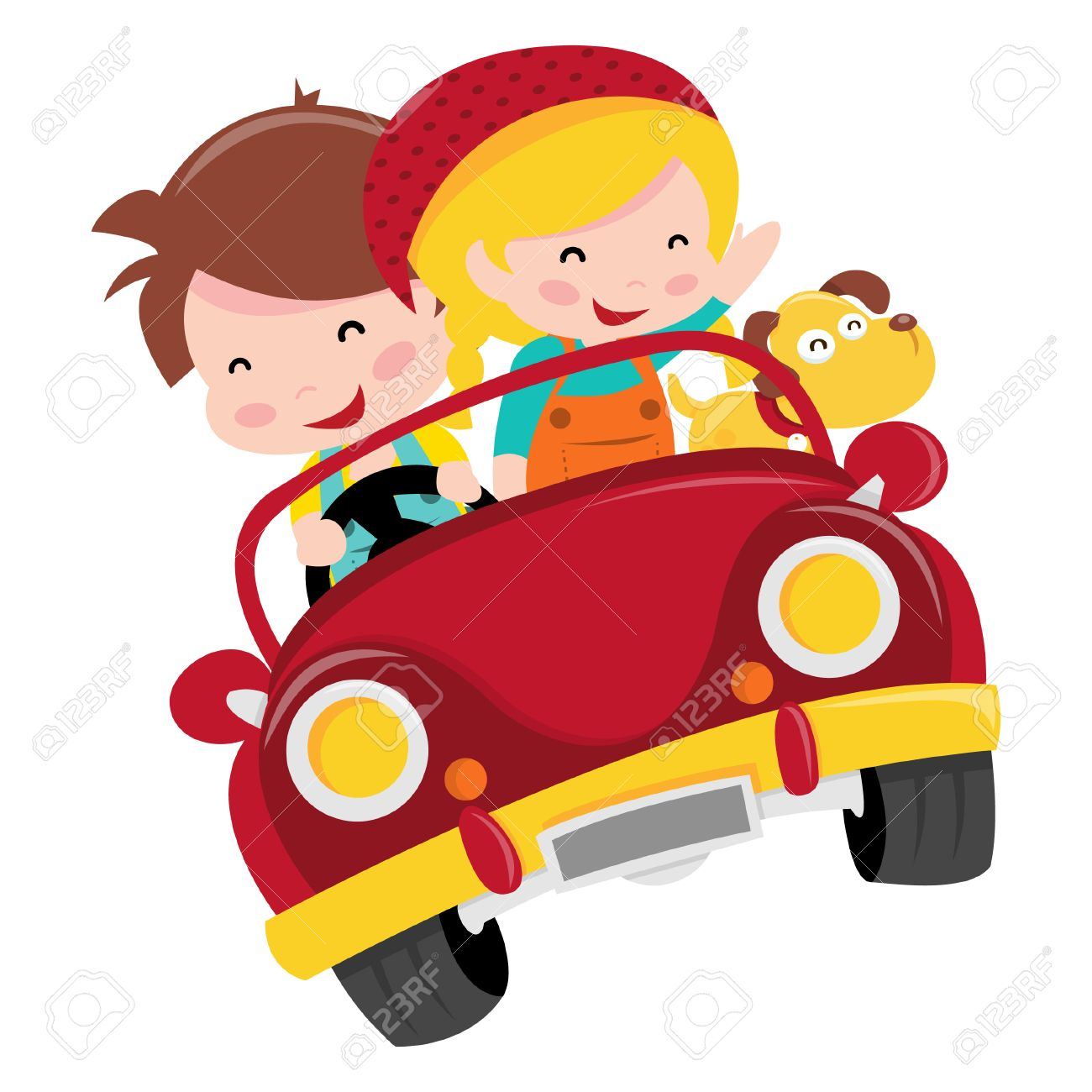 A Cartoon Illustration Of Two Happy Kids Boy And Girl Riding