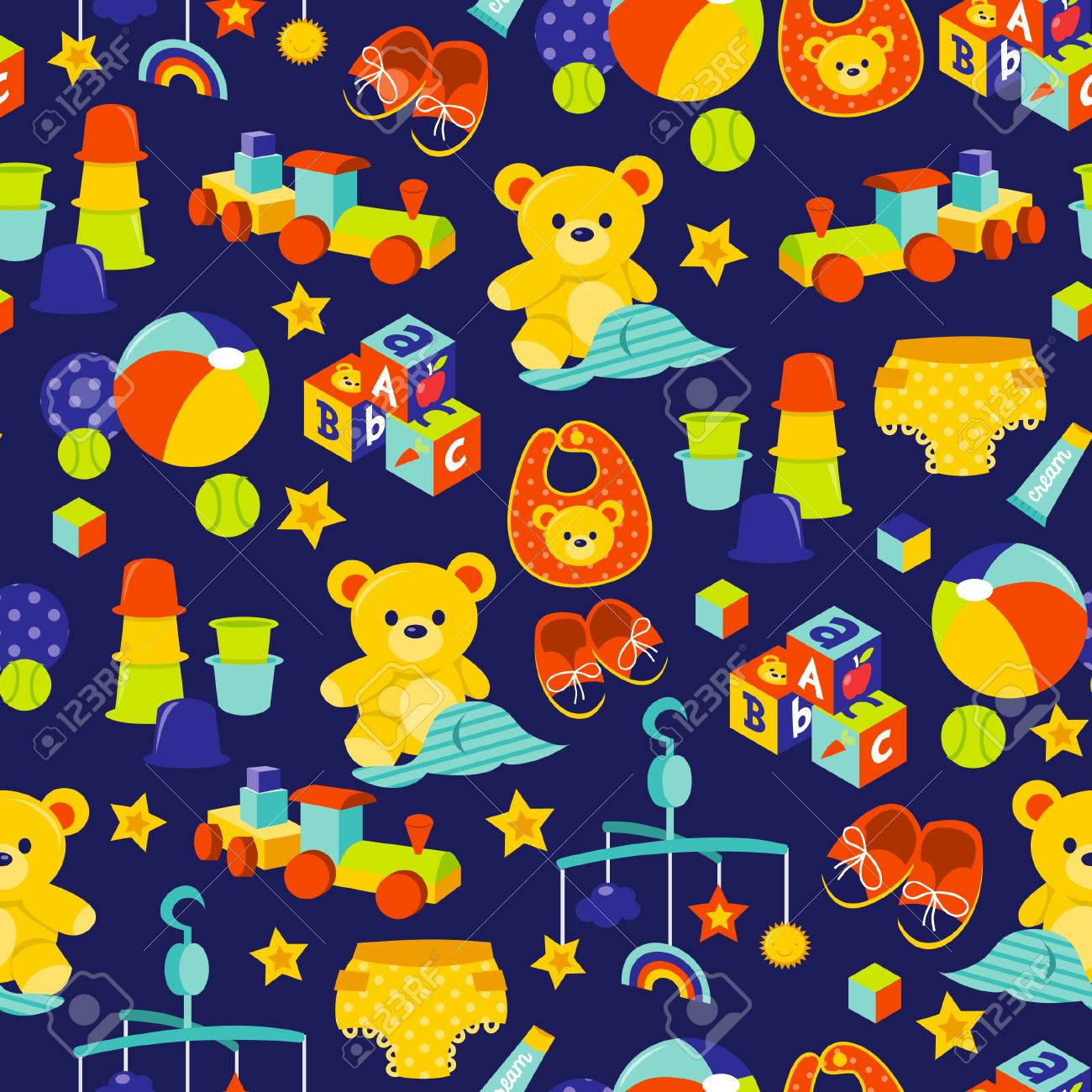 A Cartoon Illustration Of Cute Baby Gears And Toys Theme Seamless ...