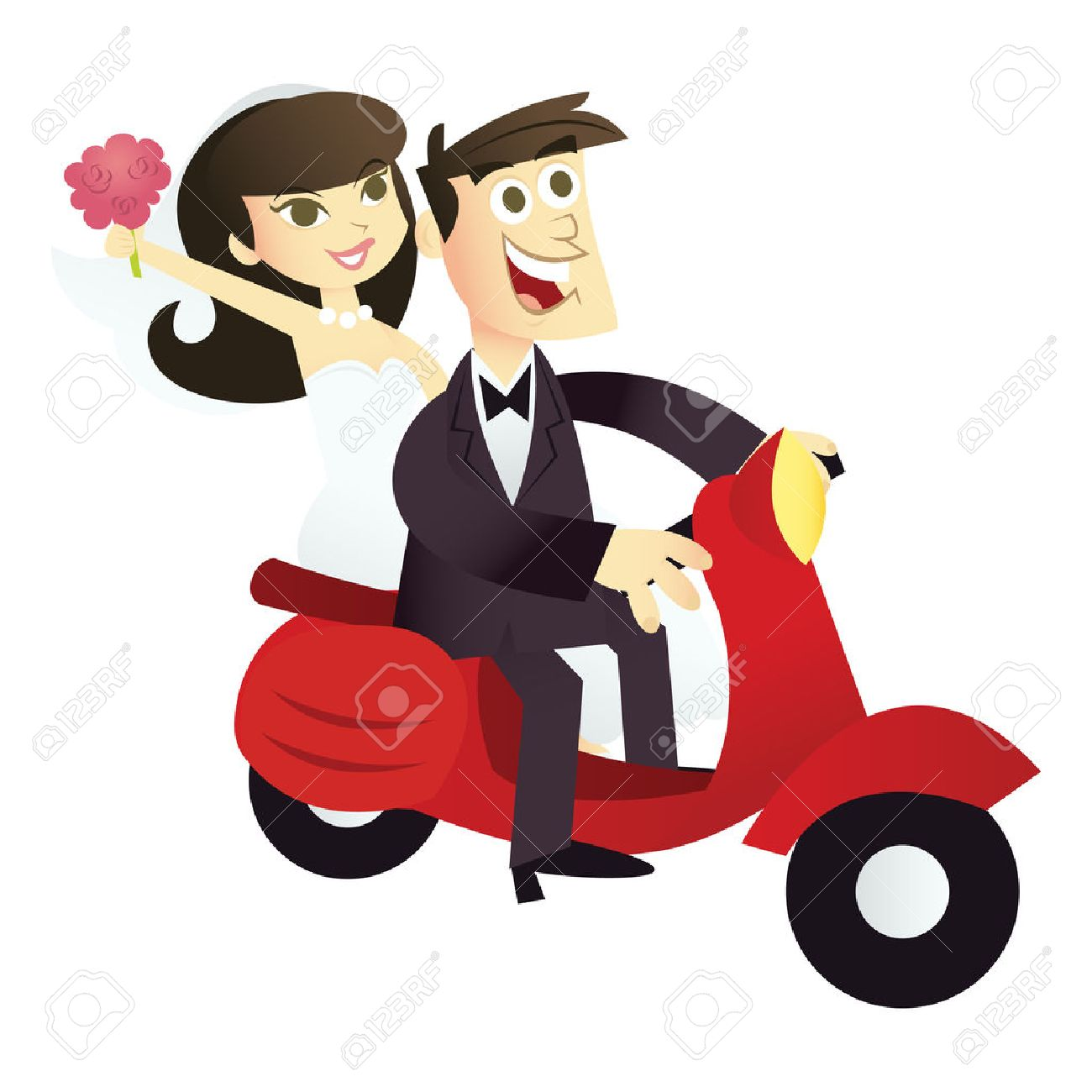 A Cartoon Illustration Of A Happy Wedding Couple On A Red Scooter Royalty Free Cliparts Vectors And Stock Illustration Image 39137016