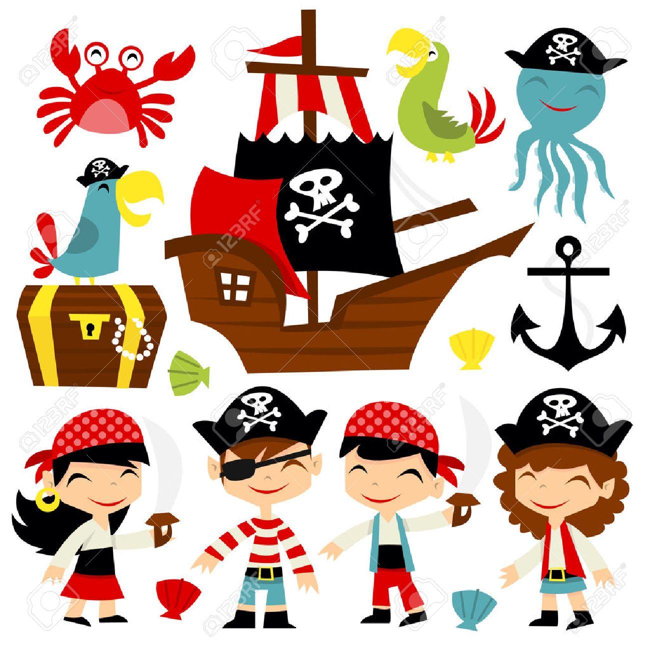 レトロな海賊の冒険をテーマの漫画イラストを設定しますこのセットに