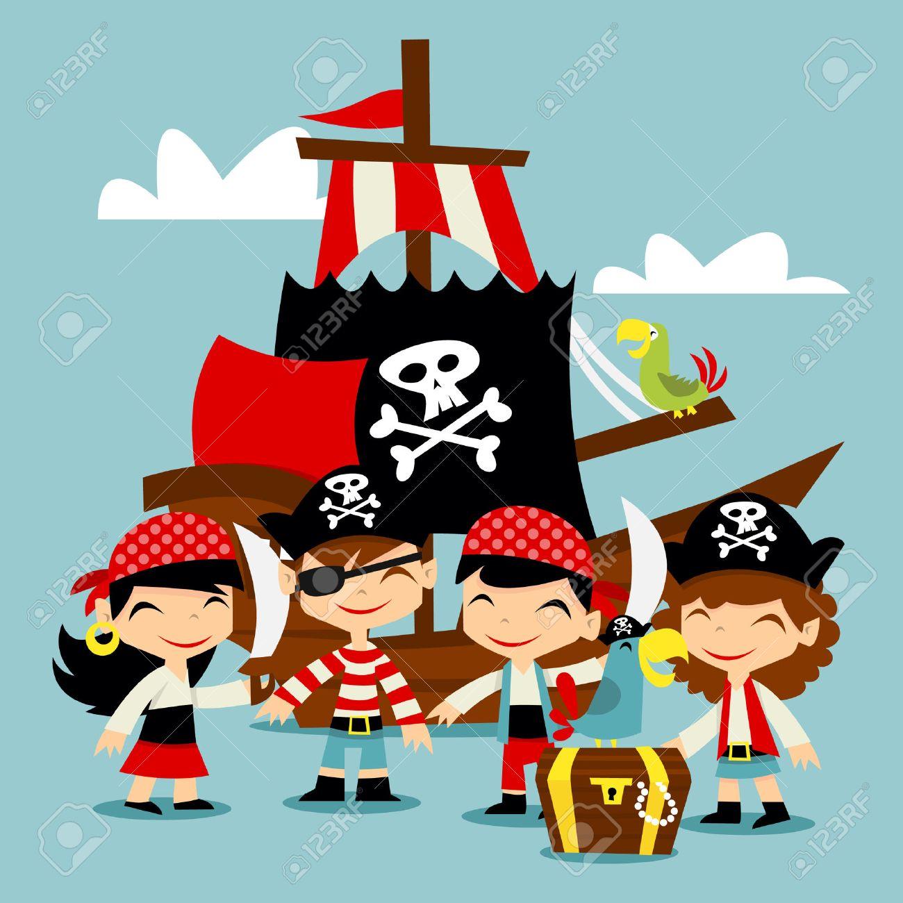 レトロな海賊冒険子供シーンのイラストのイラスト素材ベクタ Image
