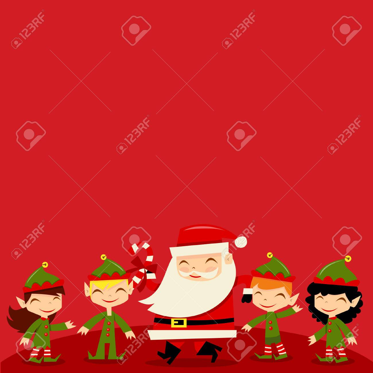 A illustration of retro inspired christmas santa and his cute a illustration of retro inspired christmas santa and his cute elves with a red background copy buycottarizona Image collections