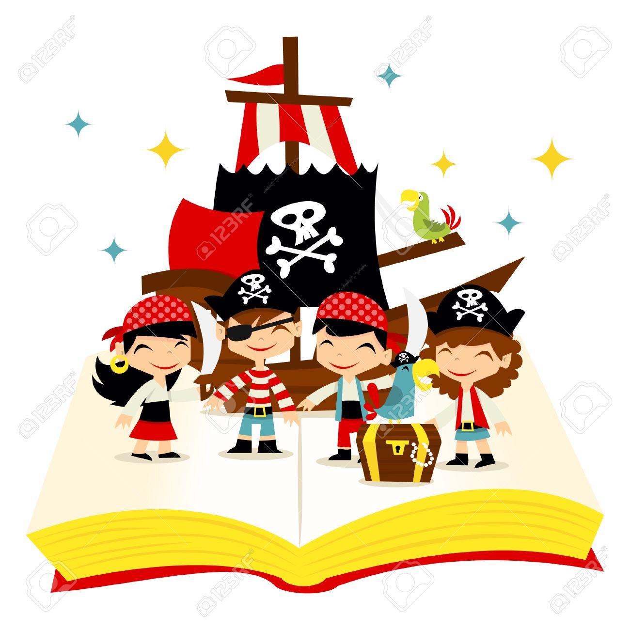 漫画イラストかわいい気まぐれな物語の本は宝物海賊船と海賊少年海賊